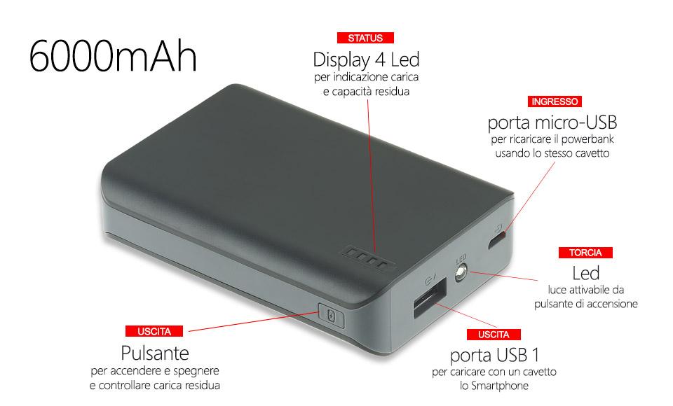 power bank 6000 4 LED per indicazione capacità residua batteria portatile