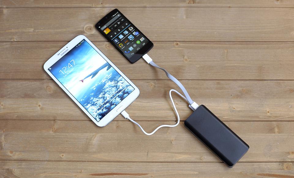 power bank Power Bank 10000mAh fast-charge 2A, Dual USB, Batteria Esterna, nero