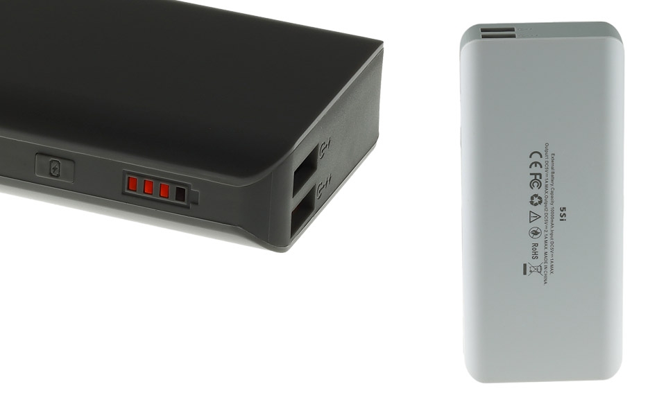 Power Bank 10000mAh fast-charge 2A, Dual USB, Batteria Esterna, bianco