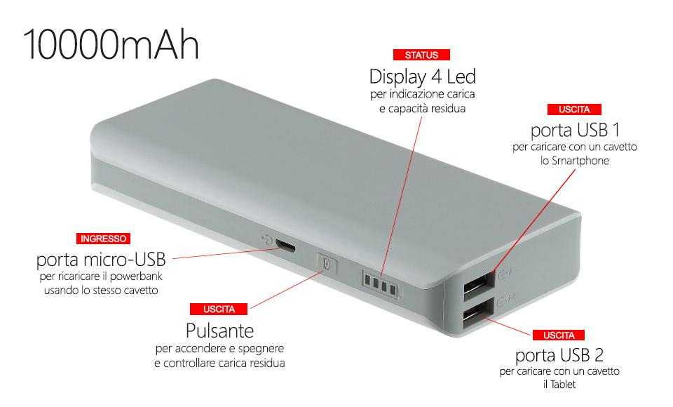 power bank 10000  batteria portatile