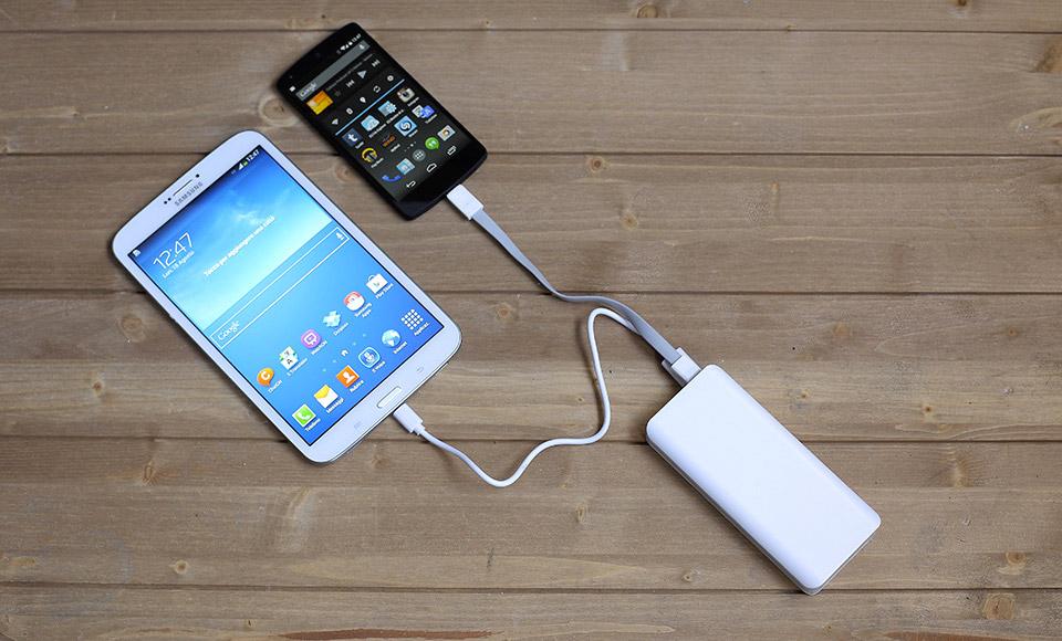 power bank Power Bank 10000mAh fast-charge 2A, Dual USB, Batteria Esterna, bianco