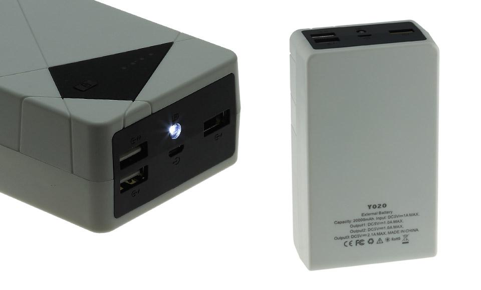 Power Bank 20000mAh, POTENTISSIMO, 3 uscite USB, fast charge, Batteria Esterna