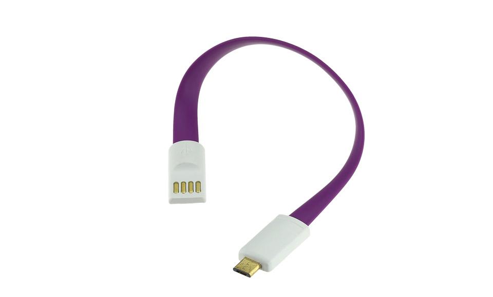 Cavo 20 cm: Micro USB > USB piatto con teste magnetiche, viola - High Speed