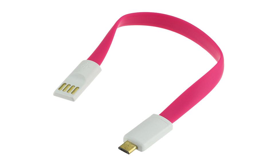Cavo 20 cm: Micro USB > USB piatto con teste magnetiche, rosa - High Speed